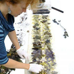 Echarpe soie écoprint impressions botaniques nature